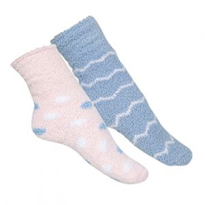 Snuggle up with our cosy Bed Socks! This pack has one blue pair with white zigzags, and one set of pink socks with blue and white spots. Both of these fluffy Bed Socks are cute, super soft, and will keep your feet warm. There's no better pair to wear while you're curled up in bed, under a blanket, or on the couch. If you're looking for the perfect match for your pyjamas, then get Bed Socks!   Material: Synthetic (Vegan Friendly)